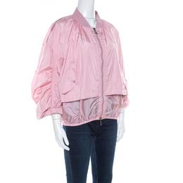 Moncler Pink Layered Zip Front Lightweight Bomber Jacket XL 220168