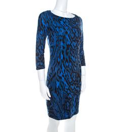 Just Cavalli Blue Leopard Print Back Cut-Out Midi Dress S 220781