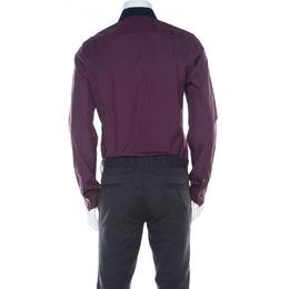 Kenzo Purple Cotton Contrast Collar Slim Plus Fit Button Front Shirt L 220540