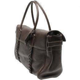 Mulberry Brown Grained Leather Bayswater Tote 220451