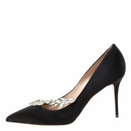 Manolo Blahnik Black Satin Embellished Nadira Pumps Size 40 222731