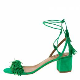 Aquazzura Green Fringed Suede Wild Thing Ankle Wrap Block Heel Sandals Size 39 219654
