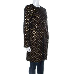 Diane Von Furstenberg Black & Gold Jacquard Gami Coat M