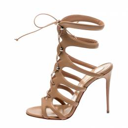 Christian Louboutin Beige Leather Amazoulo Caged Sandals Size 39