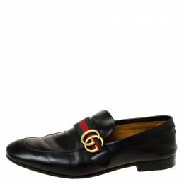Gucci Black Leather Donnie Web Loafers Size 41 220392