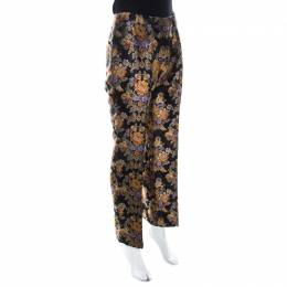 Dolce&Gabbana Black Floral Jacquard Sateen Straight Fit Trousers M
