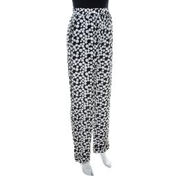 Dolce&Gabbana Monochrome Polka Dot Print Silk Straight Fit Trousers M