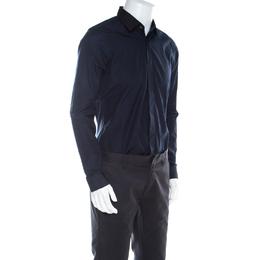 Kenzo Navy Blue Cotton Contrast Collar Slim Plus Fit Button Front Shirt L 220531