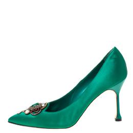 Manolo Blahnik Green Satin Eufrasia Pointed Toe Pumps Size 39.5 222712
