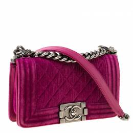 Chanel Fuchsia Quilted Velvet Small Boy Flap Bag 220389