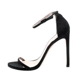 Stuart Weitzman Black Textured Leather Nudist Sandals Size 41