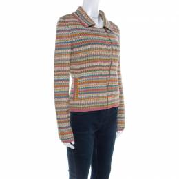 Chanel Multicolor Rib Knit Cotton Zip Front Jacket M 220359
