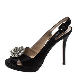 Valentino Black Crystal Embellished Satin Crisscross Peep Toe Slingback Sandals Size 39.5 222817