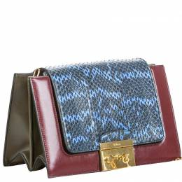Mulberry Blue/Red Python Pembroke Chain Shoulder Bag 215565