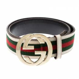 Gucci Multicolor Web Canvas and Leather G Interlocking Belt 216081