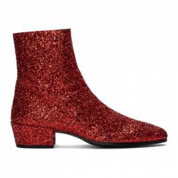 Saint Laurent Red Glitter Caleb Zippered Boots 5819531G000