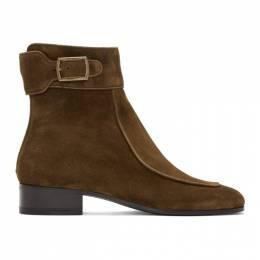 Saint Laurent Brown Suede Miles Buckled Boots 588166BT300