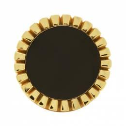 Bottega Veneta Gold and Black Signet Ring 192798M14700501GB