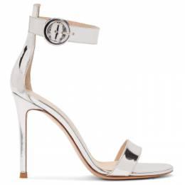 Gianvito Rossi Silver Portofino 105 Sandals 192090F12500809GB