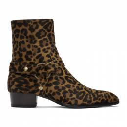 Saint Laurent Brown Pony Leopard Wyatt Boots 5795200TO00