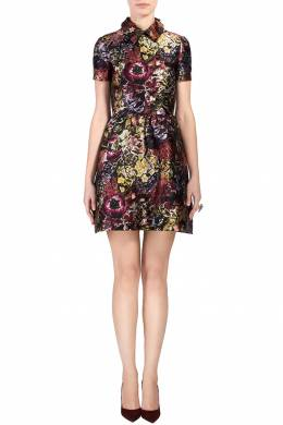 Платье с цветами и декорированным воротником Valentino 210150062