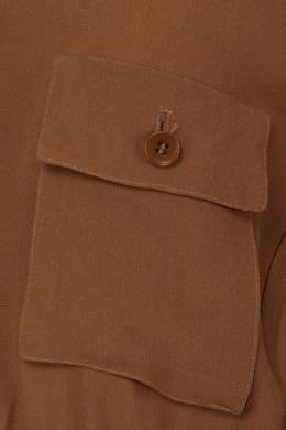 Коричневая блузка с накладными карманами Etro 907150193