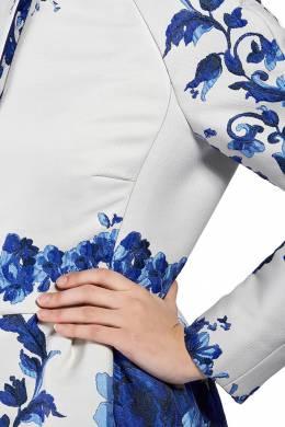 Белое платье-пальто с синим узором Valentino 210150066