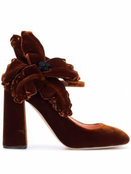 Rochas бархатные туфли-лодочки с аппликацией в форме цветка RO31091A