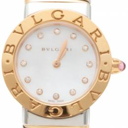 Bvlgari Bvlgari White Mother Of Pearl Diamond Dial Steel & Rose Gold Women'S Watch 26MM