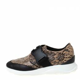 Christopher Kane Beige/Black Floral Lace Print Leather Low Top Sneakers Size 38