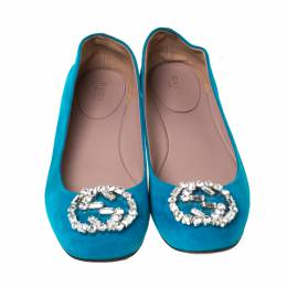 Gucci Blue Suede Crystal GG Ballet Flats Size 37.5 223558