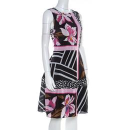 Salvatore Ferragamo Multicolor Floral Print Silk Sleeveless Fit and Flare Dress S