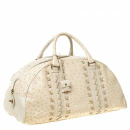 Bottega Veneta Beige/Cream Ostrich Leather Travel Bag 221080
