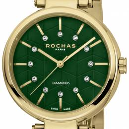 Rochas Green Gold-Plated Stainless Steel RP2L017M0031 Women's Wristwatch 36MM 221323