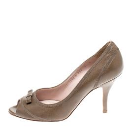 Salvatore Ferragamo Olive Green Leather Bow Detail Peep - Toe Pumps Size 37.5 221615