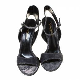 Gianvito Rossi Grey Glittery Fabric Open Toe Ankle Strap Sandals Size 40 223616