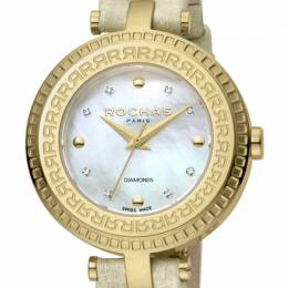 Rochas MOP Gold-Plated Stainless Steel and Leather RP2L019L0021 Women's Wristwatch 34MM 221337