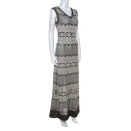 M Missoni Cream Black Gold Lurex Knit Striped Pattern Maxi Dress M 221997