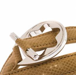 Montblanc Star Collection Hold Me Tight Beige Leather & Silver Wrap Around Toggle Bracelet 221992