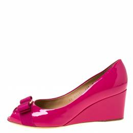 Salvatore Ferragamo Magenta Patent Leather Sissi Peep Toe Wedge Pumps Size 42 221852