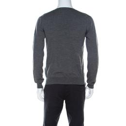 Prada Grey Wool Light V Neck Sweater M 221665