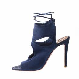 Aquazzura Blue Cutout Suede and Snakeskin Sexy Thing Peep Toe Sandals Size 41 221865