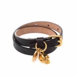 Alexander McQueen Skull Charm Black Leather Gold Tone Wrap Bracelet 221748