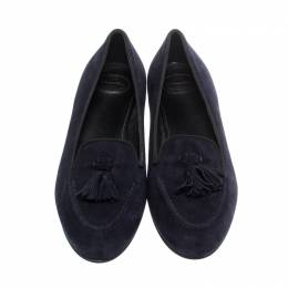 Church's Navy Blue Suede Nina Tassel Loafers Size 38 221803