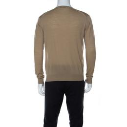 Prada Beige Wool Light V Neck Sweater M 221564