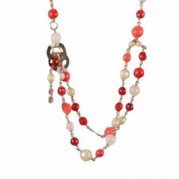 Chanel CC Faux Pearls Red/Orange/White Gripoix Beads Necklace 221692