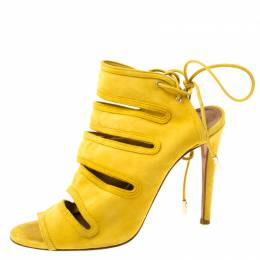Aquazurra Mustard Suede Sloane Cutout Peep Toe Sandals Size 37 Aquazzura 220797