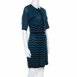 M Missoni Blue & Black Wave Patterned Knit Detachable Collar Short Sleeve Dress M 221771