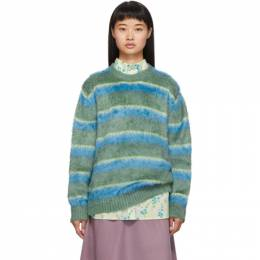Marc Jacobs Green and Blue Silk Crewneck Sweater 192190F09601201GB