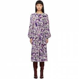 Marc Jacobs Purple Blouson Sleeve Flair Dress 192190F05400102GB